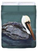 Brown Pelican On Water Duvet Cover