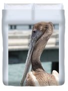 Brown Pelican Portrait Duvet Cover