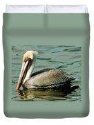 Brown Pelican Swimming Duvet Cover