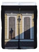 Brown Shutter Doors And Street Lamp - New Orleans Duvet Cover