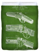 Browning Rifle Patent Drawing From 1921 - Green Duvet Cover
