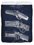 Browning Rifle Patent Drawing From 1921 - Navy Blue Duvet Cover