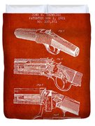 Browning Rifle Patent Drawing From 1921 - Red Duvet Cover