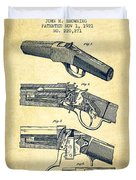 Browning Rifle Patent Drawing From 1921 - Vintage Duvet Cover