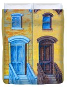 Brownstone Mural Art Duvet Cover
