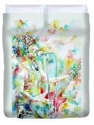 Bruce Springsteen Playing The Guitar Watercolor Portrait.1 Duvet Cover