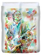 Bruce Springsteen Playing The Guitar Watercolor Portrait.3 Duvet Cover