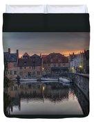 Bruges Canal Dawn Duvet Cover