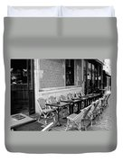 Brussels Cafe In Black And White Duvet Cover