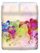 Brussels Skyline In Watercolor Background Duvet Cover