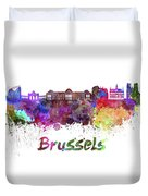 Brussels Skyline In Watercolor Duvet Cover