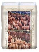 Bryce Canyon Utah View Through A White Rustic Window Frame Duvet Cover