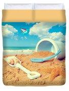 Bucket And Spade On Beach Duvet Cover by Amanda Elwell
