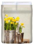Buckets Of Daffodils Duvet Cover by Amanda Elwell