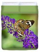 Buckeye Butterfly On Purple Flowers Duvet Cover