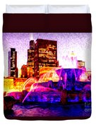 Buckingham Fountain At Night Digital Painting Duvet Cover