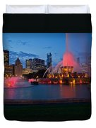 Buckingham Fountain Light Show Duvet Cover