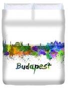 Budapest Skyline In Watercolor Duvet Cover