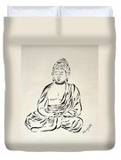 Buddha In Black And White Duvet Cover