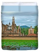 Buddhas At Wat Mahathat In 13th Century Sukhothai Historical Park-thailand Duvet Cover