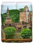 Buddhas In Wat Mahathat In 13th Century Sukhothai Historical Park-thailand Duvet Cover