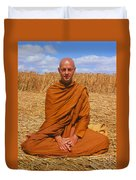 Buddhist Monk Meditating Duvet Cover by David Parker and SPL