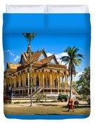Buddhist Temple In Kratje - Cambodia Duvet Cover