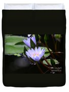 Budding Purple Water Lilies Duvet Cover
