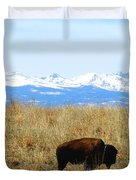 Buffalo And The Rocky Mountains Duvet Cover