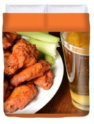 Buffalo Wings With Celery Sticks And Beer Duvet Cover
