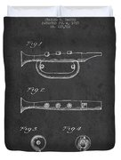 Bugle Call Instrument Patent Drawing From 1939 - Dark Duvet Cover