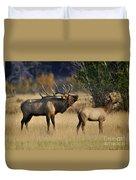 Bugling Elk With Calf Duvet Cover