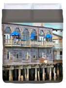 Building On Piles Above Water Duvet Cover by Lorna Maza
