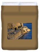 Buildings By The Mediterranean Sea Duvet Cover