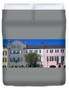 Buildings In A City, Rainbow Row Duvet Cover