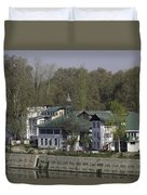 Buildings On The Shore Of Section Of Dal Lake In Srinagar Duvet Cover