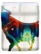 Bull Art - Love A Bull 2 - By Sharon Cummings Duvet Cover