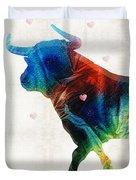 Bull Art - Love A Bull 2 - By Sharon Cummings Duvet Cover