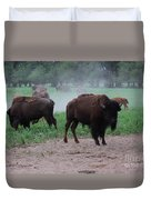 Bull Buffalo Guarding Herd With Green Grass Duvet Cover