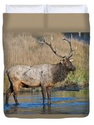 Bull Elk Crossing River Duvet Cover