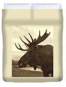 Bull Moose In Sepia Duvet Cover