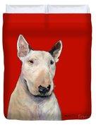 Bull Terrier On Red Duvet Cover
