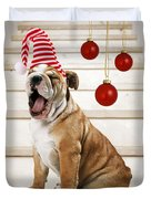 Holiday Bulldog Puppy  Duvet Cover