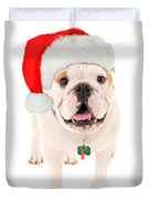 Bulldog Santa Duvet Cover