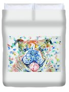 Bulldog - Watercolor Portrait Duvet Cover