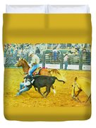 Bulldoggin Cowboys Duvet Cover