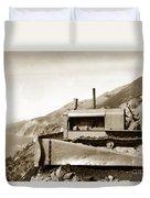Bulldozer Working On Highway One Big Sur Circa 1930 Duvet Cover