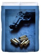 Bullets And Handgun Duvet Cover