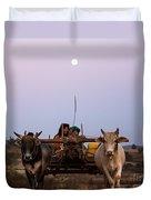 Bullock Cart Under Full Moon - Burma Duvet Cover