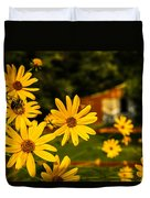 Bumble Bee On A Western Sunflower Duvet Cover